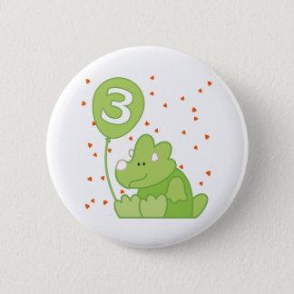 3rd födelsedag för Dino baby Standard Knapp Rund 5.7 Cm