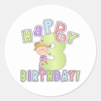 3rd födelsedag för flickalycklig runt klistermärke