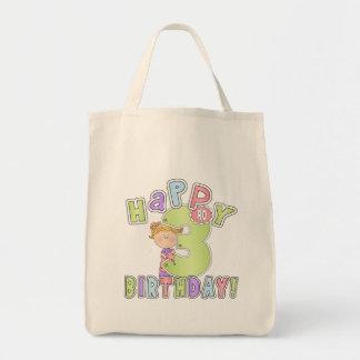 3rd födelsedag för flickalycklig tote bag