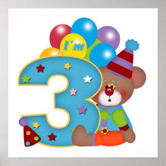 3rd Födelsedag för födelsedagclownbjörn Affischer