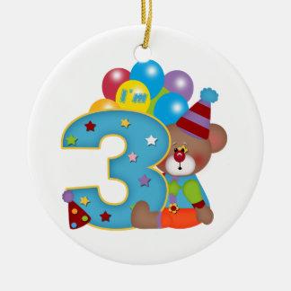 3rd Födelsedag för födelsedagclownbjörn Rund Julgransprydnad I Keramik