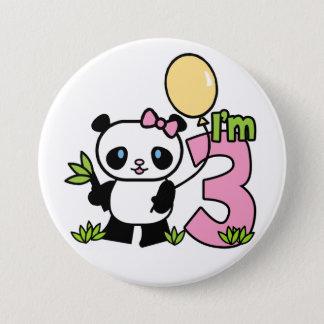3rd födelsedag för Pandaflicka Mellanstor Knapp Rund 7.6 Cm