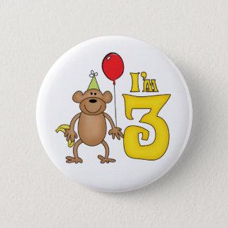 3rd födelsedag för rolig apa standard knapp rund 5.7 cm