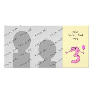 3rd Födelsedagtecknad i Pink. Anpassingsbara Fotokort