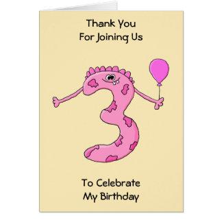 3rd Födelsedagtecknad i Pink. Kort