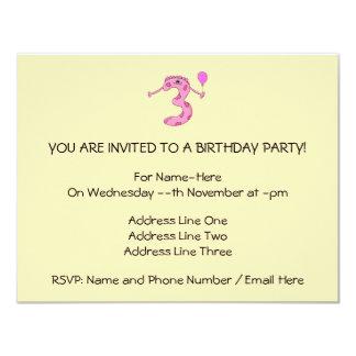 3rd Födelsedagtecknad i Pink. 10,8 X 14 Cm Inbjudningskort