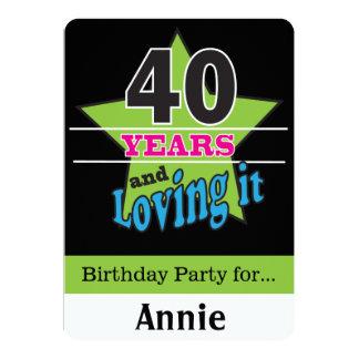 40 år och älska det! | 40th födelsedag 12,7 x 17,8 cm inbjudningskort
