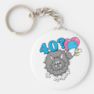 40 födelsedag kattgåva rund nyckelring