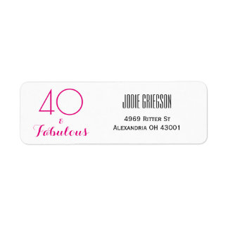 40 och sagolik 40th födelsedagreturadressetikett returadress etikett