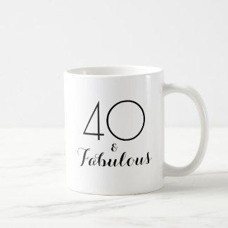 40 och sagolik 40th svart för födelsedaggåvamugg kaffemugg