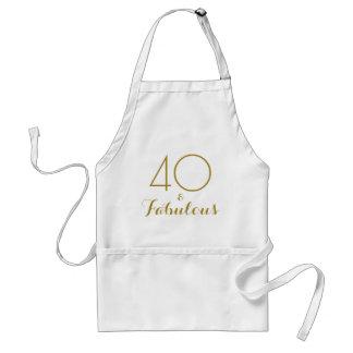 40 och sagolik guld- textfödelsedag förkläde
