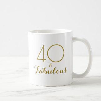 40 och sagolikt 40th guld för födelsedaggåvamugg kaffemugg