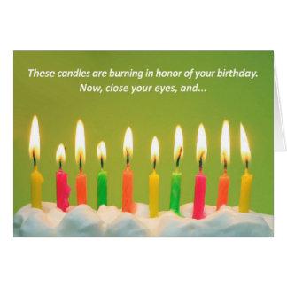 40 stearinljus 40th födelsedagkort {TBA-vinnaren!} Hälsningskort