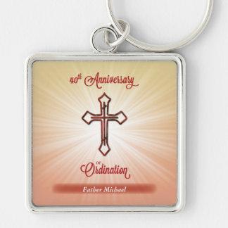 40th Årsdagen av prästvigningen, kvadrerar gåvan Fyrkantig Silverfärgad Nyckelring