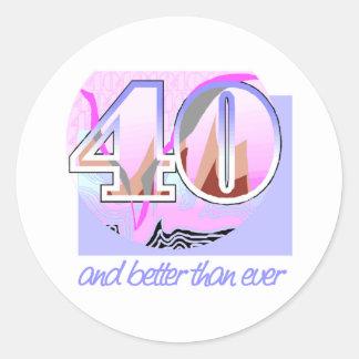 40th Födelsedaggåva Runt Klistermärke