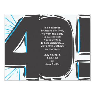 40th Födelsedaginbjudan 10,8 X 14 Cm Inbjudningskort