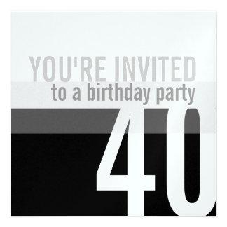 40th Födelsedagsfest inbjudan silver