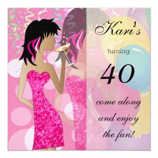 40th Födelsedagvåldsamt slagparty Fyrkantigt 13,3 Cm Inbjudningskort