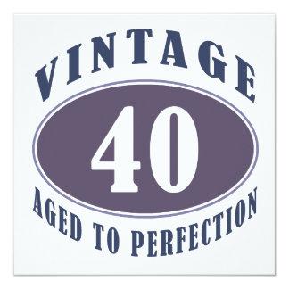 40th för manar födelsedaggåvor för vintage fyrkantigt 13,3 cm inbjudningskort