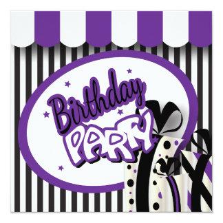 40th Lilor för födelsedag |, vit & svartrandar Fyrkantigt 13,3 Cm Inbjudningskort