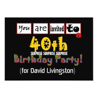 40th ÖVERRRAKNINGfödelsedagsfest inbjudanmall 12,7 X 17,8 Cm Inbjudningskort