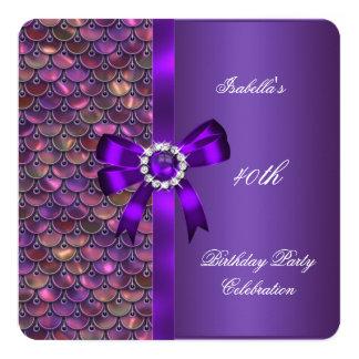 40th Rosa purpurfärgad diamant för Fyrkantigt 13,3 Cm Inbjudningskort