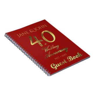 40th Ruby för guld för bröllopsdaggästbok Anteckningsbok Med Spiral