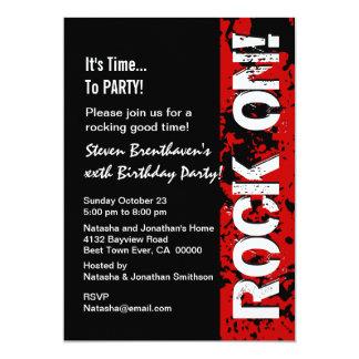 40th Stenar för födelsedag 40! Röd och svart A08 12,7 X 17,8 Cm Inbjudningskort