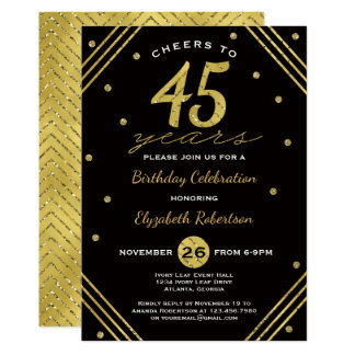 45th Födelsedagsfest inbjudan jubel, Fauxguld