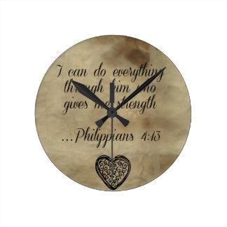 4:13 för bibelVersePhilippians Rund Klocka