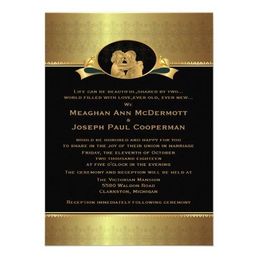 """4,5 x 6,25"""" guld- elegantt lyxigt modernt bröllop unika inbjudningar"""