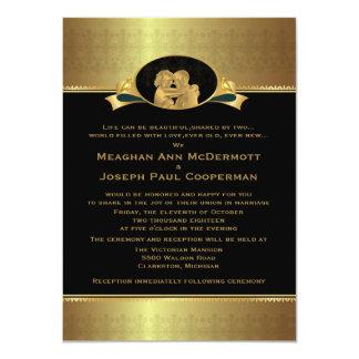 "4,5 x 6,25"" guld- elegantt lyxigt modernt bröllop 11,4 x 15,9 cm inbjudningskort"