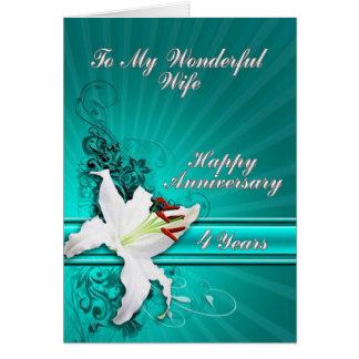 4 år årsdagkort för en fru hälsningskort
