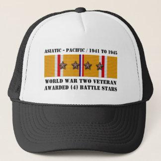 4 asiatisk Stillahavs- veteran för STRIDSTJÄRNOR Truckerkeps