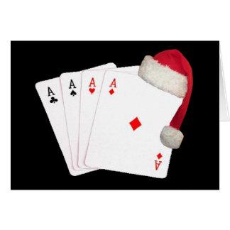 4 essgod jul med det Santa lockkortet Hälsningskort