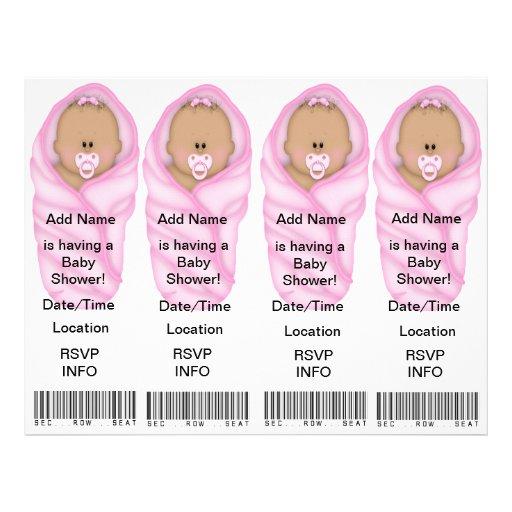 4 rosa baby showerinbjudningar - bokmärkefavörer personliga flygblad