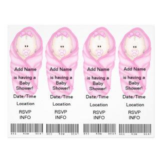 4 rosa baby showerinbjudningar - bokmärkefavörer flyg blad