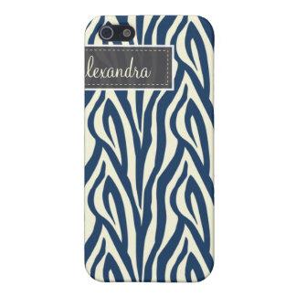 4 sebra (marinblåa) Pern, iPhone 5 Cases