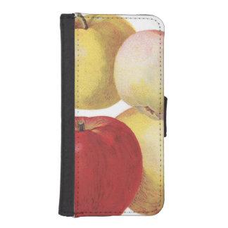 4 vintageäpplen illustrerade fodral plånboksskydd för iPhone 5