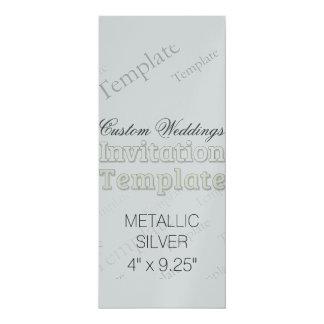 """4"""" x 9,25"""" silverpersonligt bröllpinbjudan 10,2 x 23,5 cm inbjudningskort"""