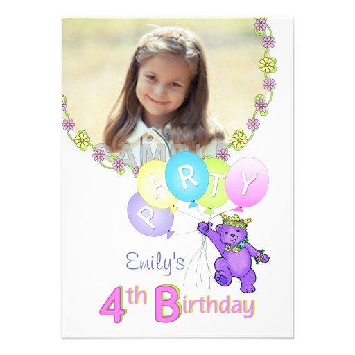 4e födelsedagenpartyPrincess Uthärda Anpassningsba Kort För Inbjudningar