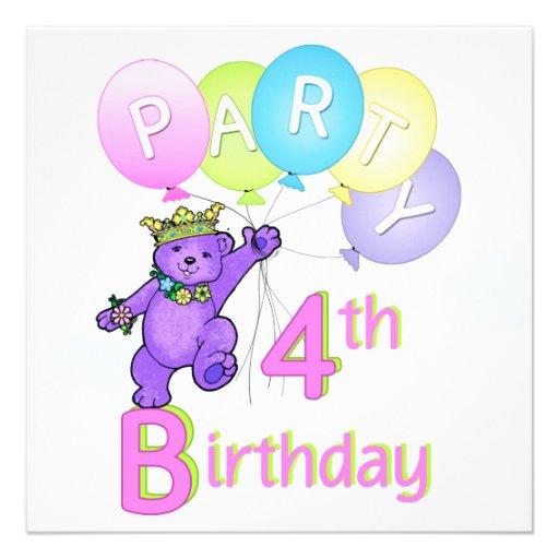 4e födelsedagenpartyPrincess Uthärda Svälla Anpassningsbara Inbjudningskort