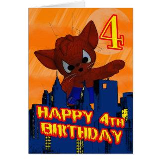 4e födelsedagenspindelkatt, fjärde födelsedagkort hälsningskort