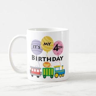 4e födelsedagentågfödelsedag kaffe koppar