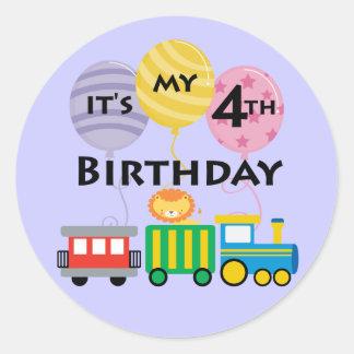 4e födelsedagentågfödelsedag runt klistermärke