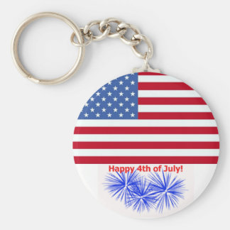 4th av den Juli amerikanska flaggan & fyrverkerier Rund Nyckelring