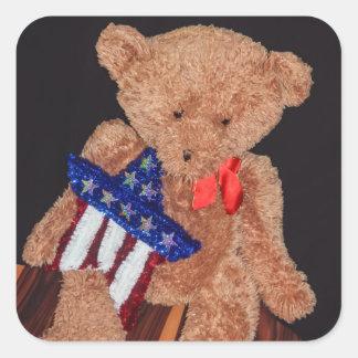 4th av den Juli björnen kvadrerar klistermärkear Fyrkantigt Klistermärke
