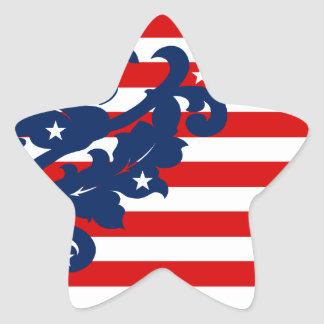 4th av den Juli damaststjärnan Stjärnformat Klistermärke