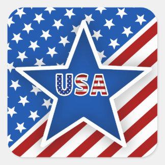 4th av den Juli flagga - blått Star/USA Fyrkantigt Klistermärke