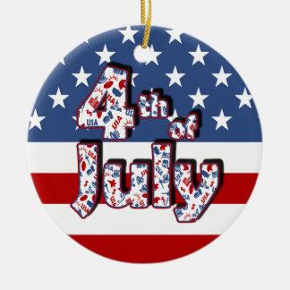 4th av den Juli independence day Julgransprydnad Keramik